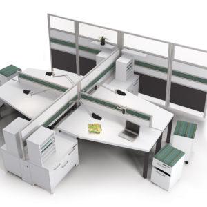 4 Pod Workstations with Modular Storage