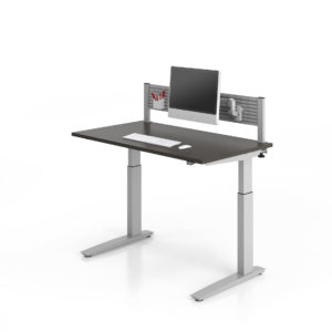 Height Adjustable Table and Accessory Bar Mounted Monitor
